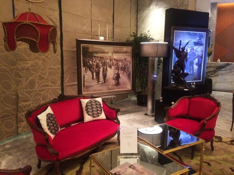 Tokyo Pulse cushions in Mandarin Oriental Lobby